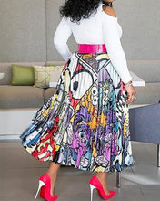 Load image into Gallery viewer, Elastic Waist Printed Pleated Over The Knee Skirt