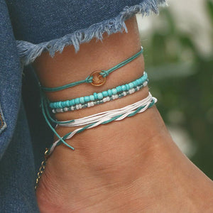 5pc/set Multi Layered Turquoise Chains Beach Anklet Foot Bracelet Set Ankle Jewelry
