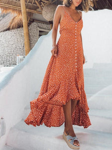 V-Necktie Sexy Bohemian Smallflower Vacation Dress