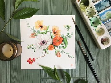Colorful, Realistic Watercolor Flower Painting