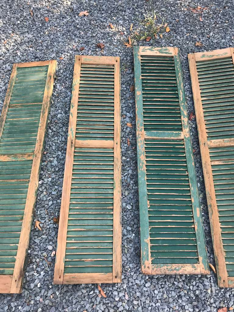 old shutters with peeling paint
