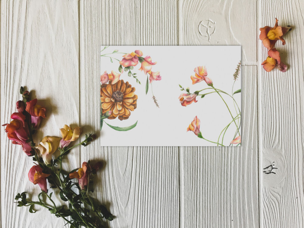 Sunlit Snapdragons and zinnia print on white wall