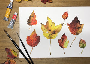 Fall Leaves painting with paints and brushes