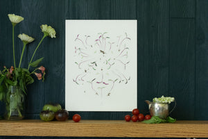 Freshly Plucked Sprouts art print on wall with flowers