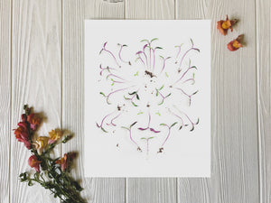 Freshly Plucked Sprouts art print on table with flowers