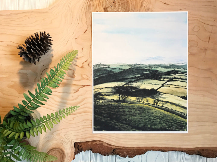 Welsh Countryside Sunrise Print on wood background