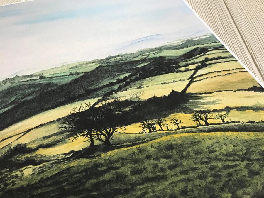 Welsh Countryside Sunrise Print close up