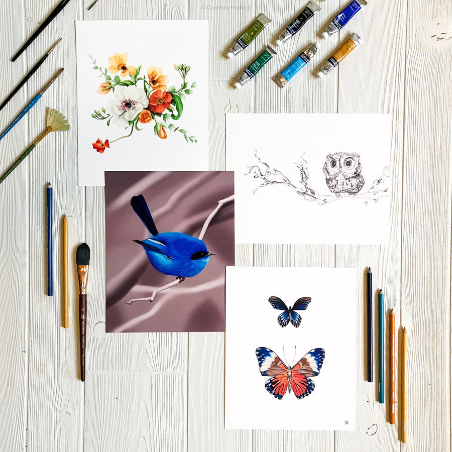 Blue and Orange Butterflies art print displayed in gallery with other similar artworks