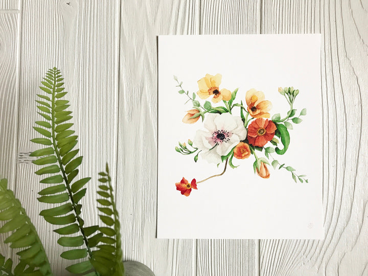 Orange & Yellow Poppy Flowers Print on white background with greenery