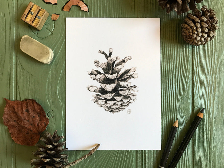 Woodland Pinecone Print on green background with art supplies
