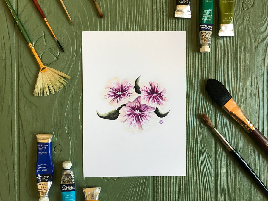 Purple & Peach Morning Glory Flowers Print with art supplies