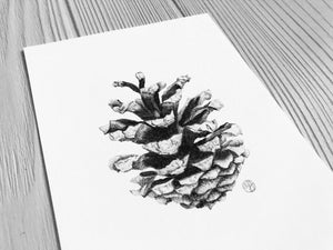 Woodland Pinecone Print close up