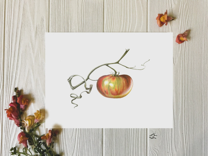 Ripening tomato art print on table with flowers