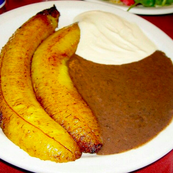 Fried Plantain with Beans and Sour Cream