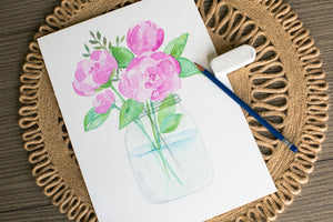 watercolor pink peony