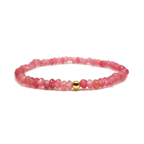 Pink Tourmaline Delicate Beaded Bracelet in Gold Filed Dainty Gemstone Stacking Bracelet Jewelry for Women, tourmaline beaded bracelet uk, genuine tourmaline bracelet uk, pink bracelets uk, pink jewelry
