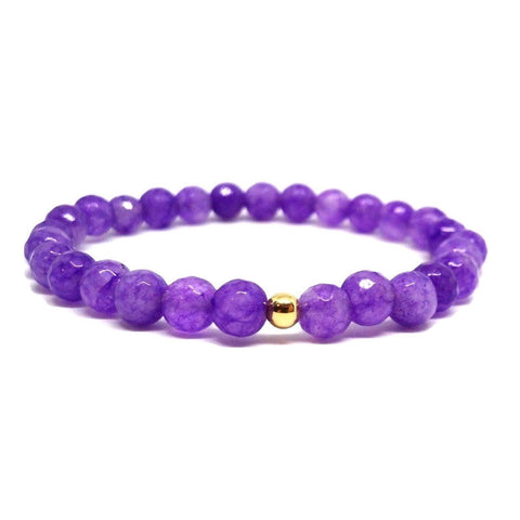 Semi Precious Amethyst and 14ct Gold Bracelet Brings Positive Energy Power Bead Bracelet