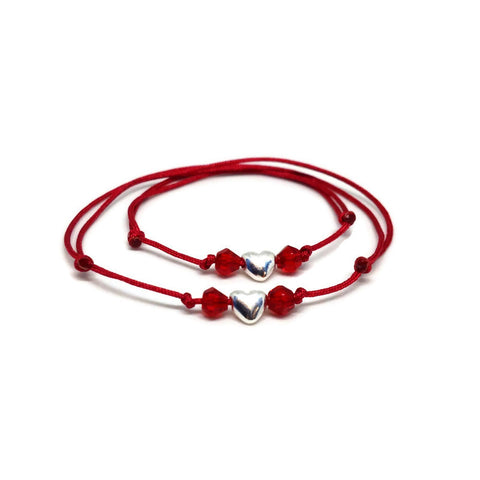 Mom and Baby Bracelets Sterling Silver Heart Red String Protection Bracelets
