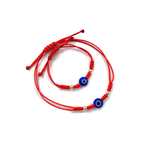 Mother and baby nazar eye bracelets. Mommy and me gift. Protection red string for mother and child. Newborn protection bracelet, nazar eye