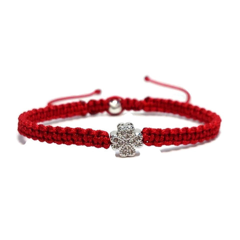 "Kabbalah Red String Bracelet With Cubic Zirconia Silver Clover ""Protection"""