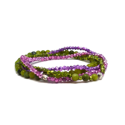 Gorgeous Energy Bracelets Made With Natural Stones and Crystals For Your Self-Discovery Set of 4 pcs, gift for her, crystal ebergy bracelets, bracelet set, green bracelet, purple bracelet, gemstone beaded bracelet