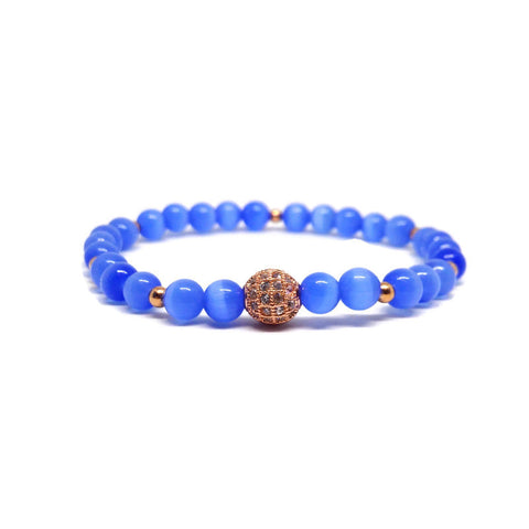 Blue Natural Selenite Cat's Eye Bracelet With Gold Cubic Zirconia Pave Brings Clarity and Balancet, gift for her, blue crystals, blue bracelet, genuine healing crystal bracelets