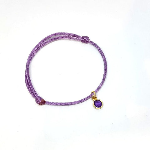 Satin Silk Bracelet With Gold Amethyst Charm