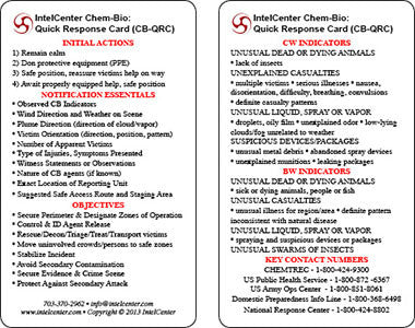 IntelCenter Chem-Bio Quick Response Card (CB-QRC)