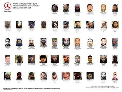 IntelCenter Islamic State (IS) in Iraq & Syria Facial Identification Wall Chart v1.3 (Updated 26 Sep. 2019)