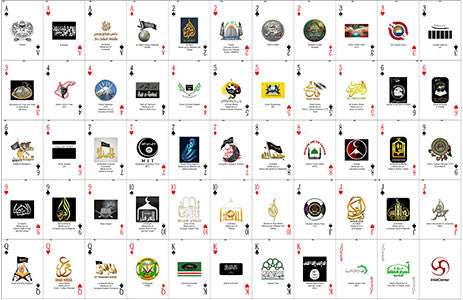 Collector's Uncut Sheet of IntelCenter's Jihadi Terrorist Group Logo Playing Cards v1