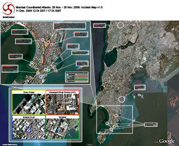 "IntelCenter Mumbai Coordinated Attacks: 26-28 Nov. 2008 Incident Map 44""x36"" Wall Chart v1.0"
