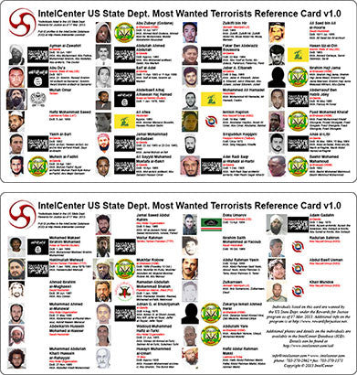 IntelCenter US State Dept. Most Wanted Terrorists Reference Card v1.0