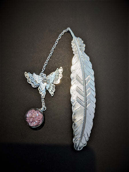 Pink and Silver Butterfly Bookmark