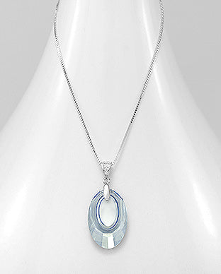 925 Sterling Silver Circle Necklace Decorated with CZ Simulated Diamonds and Verifiable Authentic Swarovski Crystal
