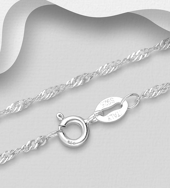 925 Sterling Silver Twist Chain, Made in Italy.