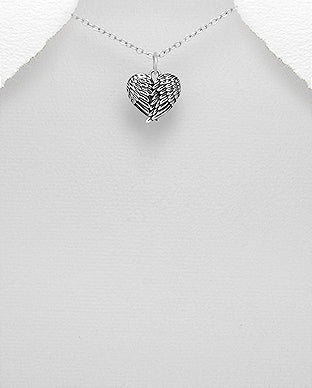 925 Sterling Silver Angel Wings and Heart Pendant