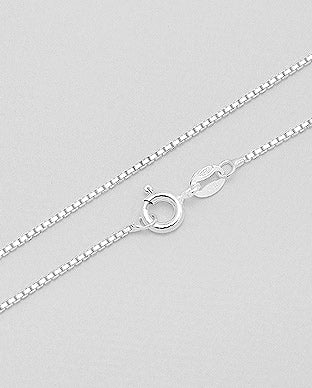 925 Sterling Silver Box Chain, Made in Italy.