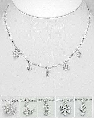 925 Sterling Silver Butterfly and Infinity and Music Notes and Snowflake Necklace