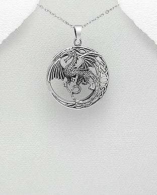 925 Sterling Silver Celtic and Dragon