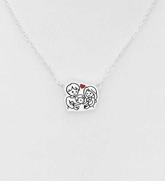 925 Sterling Silver Happy Family Necklace