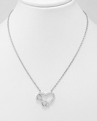 925 Sterling Silver Heart Infinity Necklace