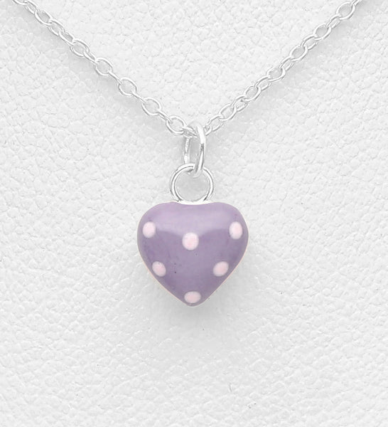 925 Sterling Silver Heart Necklace Decorated With Colored Enamel