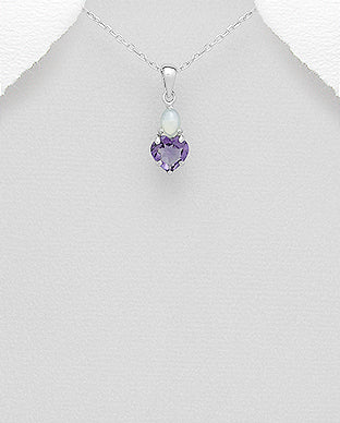 925 Sterling Silver Heart decorated with Amethyst And Opal