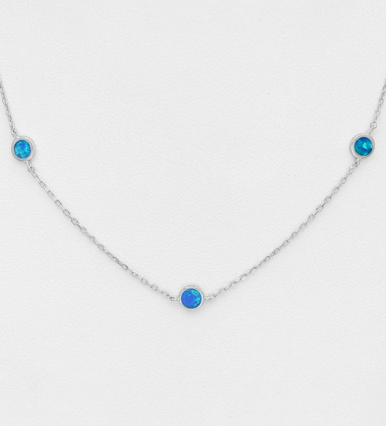 925 Sterling Silver Necklace Decorated With Lab-Created Opal