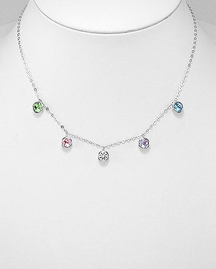 925 Sterling Silver Necklace Decorated With Verifiable Authentic Swarovski Crystals