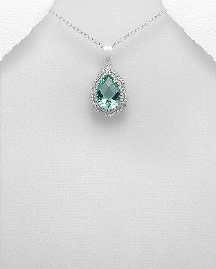 925 Sterling Silver NecklaceDecorated With CZ And Plated With Rhodium