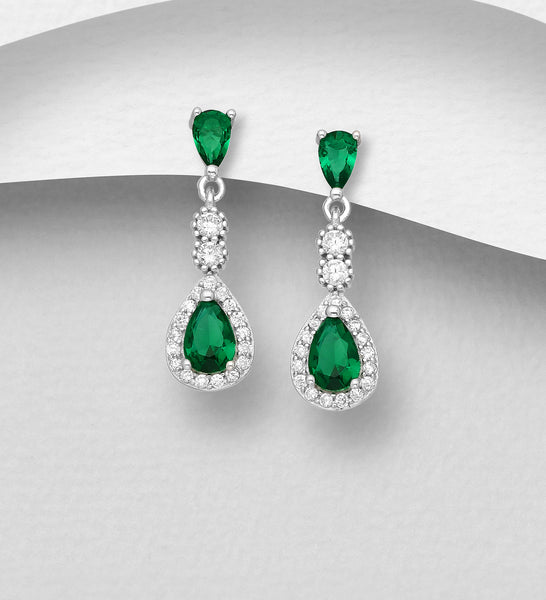 925 Sterling Silver Push-Back Earrings Decorated with CZ Simulated Diamonds