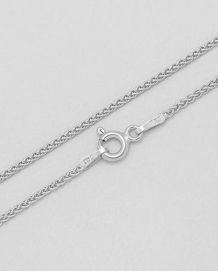 925 Sterling Silver Wheat Chain, Made in Italy.