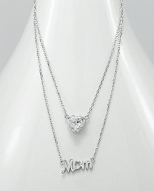 "925 Sterling silver message necklace ""Mom"""