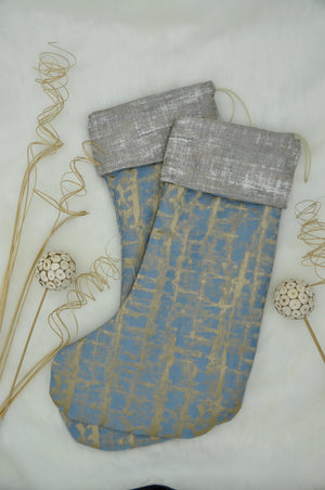 Christmas Stocking - Blue and gold